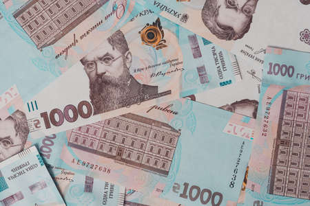 Ukrainian money, texture from Ukrainian banknotes in the denomination of one thousand hryvnias, the banknote depicts Vernadsky. 2021 写真素材