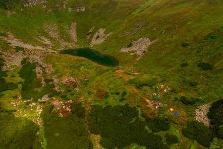 Carpathian lake Brebeneskul and rocky terrain near it, an attractive place for tourism, the highest lake of the Ukrainian Carpathians on the Montenegrin ridge. 2020