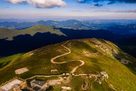 Black Mountain or Pip Ivan, one of the highest peaks of the Carpathians, the White Elephant Observatory, top view of the trails to the popular mountain. 2020 写真素材