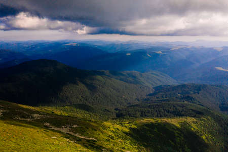view of the Montenegrin ridge from Mount Pip Ivan, landscapes of the Carpathian Mountains, Mount PICH. 2020