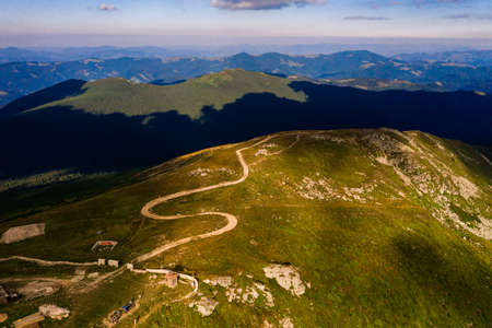 Hiking trails to Mount Pip Ivan, top view, picturesque landscapes of the Ukrainian Carpathians, the old Polish observatory, the tallest building in Ukraine. 2020