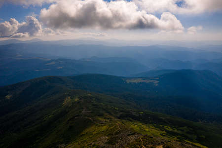 view of the Montenegrin ridge from Mount Pip Ivan, landscapes of the Carpathian Mountains, Mount PICH. 版權商用圖片