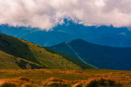 overcast mountains, power, tranquility and grandeur of the mountains, the Carpathian Montenegrin ridge. 2020