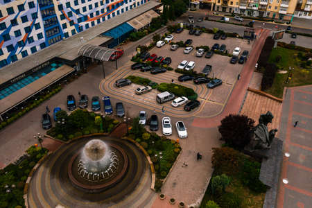 Ivano-Frankivsk, Ukraine September 26, 2020: Independence Avenue, the city of your dreams, Hotel Nadiya, fountain and parking. 2020