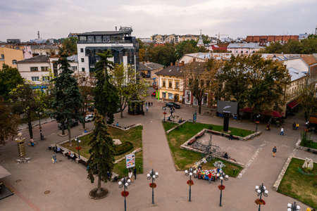 Ivano-Frankivsk, Ukraine September 26, 2020: the cathedral and the streets of the city near it. 2020
