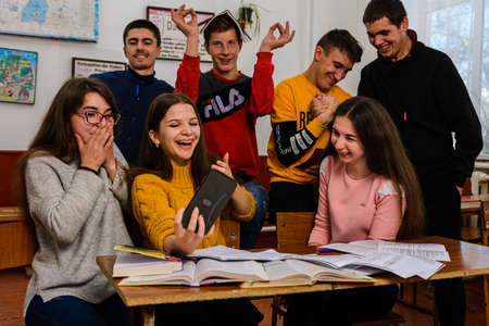 Ivano-Frankivsk, Ukraine February 7, 2020: school classes for students at school, school days. 2020 新聞圖片