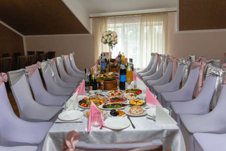 Ivano-Frankivsk, Ukraine August 3, 2019: banquet table at a wedding. 2020
