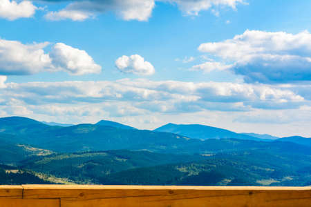 Beautiful view of the mountain range on the observation deck in the mountains of the Carpathians of Ukraine. 2020