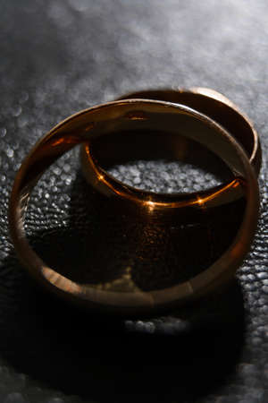 Concept and idea, pair of wedding rings, close up of two jewelry. 2020