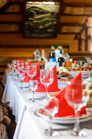 Table setting, food and decorations for important and family events, delicious snacks and hot dishes. 2020