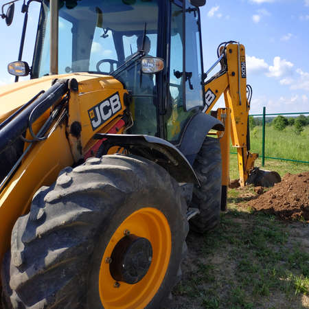 Kaluga, Russia June 11, 2019: jcb excavator, construction work and digging.new