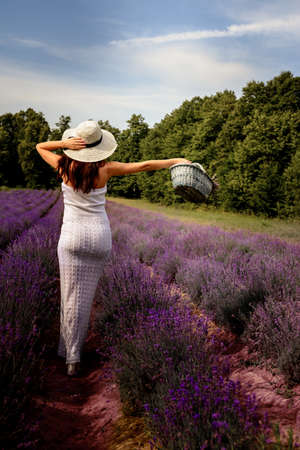 Portrait of a woman in a lavender field, aromatherapy and a walk in a fragrant field, a feeling of freshness and joy from the walk. new Archivio Fotografico