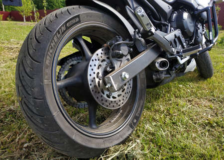 Kaluga, Russia May 28, 2019: Yamaha motorcycle, close-up details.new