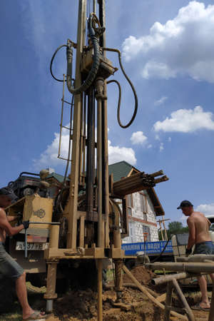 Kaluga, Russia May 29, 2019: water drilling rig, well start drilling process, field work. new