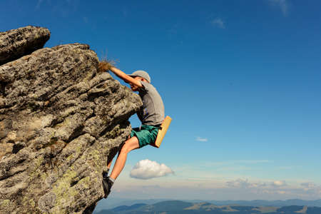 A 11-year-old boy is studying mountaineering in the Carpathians, a boy climbs to the top of a rocky rock alone without the help of an instructor and parents. 2020