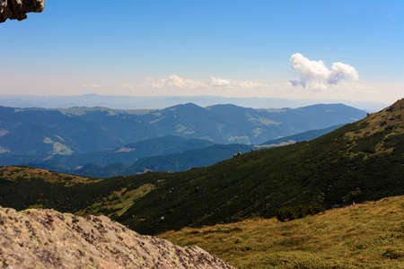 Large stones on the tops of the Carpathians, epic and breathtaking view. 2020