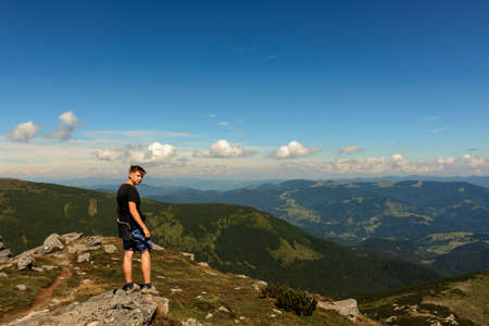 Tourists and mountains of the Montenegrin ridge, endless landscapes and the silence of the mountains. new