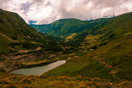Alpine lake of the Carpathians Brebeneskul, the highest lake in Ukraine. new