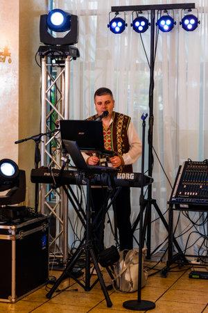 Ivano-Frankivsk Ukraine September 26, 2020: musician at the Nadiya Hotel. new Editoriali