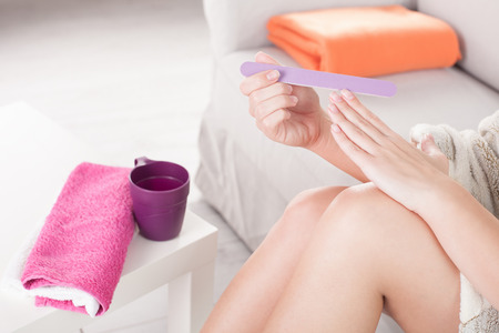 Woman nail care. Top view