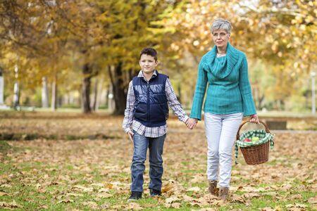 Grand-mère et petit-fils se tenant la main en allant sur un pique-nique dans le parc de l'automne