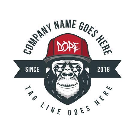 Hip hop Monkey badge, retro badge gorilla illustration Illusztráció