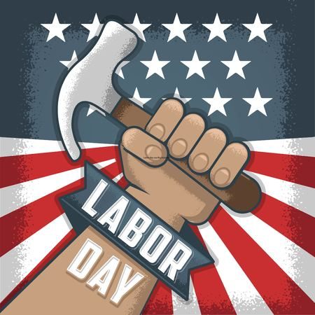 Labor day, Flayer and banner. Hand holding a tool. Worker with a Hammer