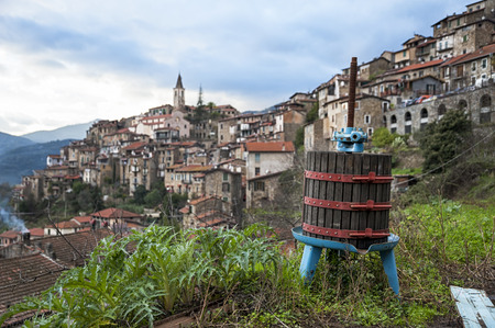 winepress: Apricale Stock Photo