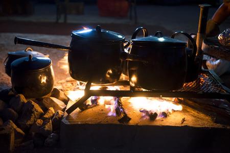 Pot on the fire Standard-Bild
