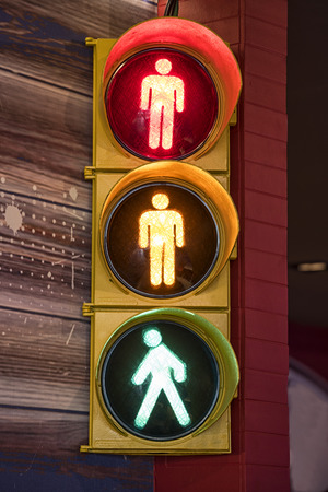 light green: Pedestrian traffic light Stock Photo
