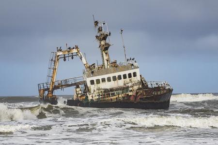 sea pollution: Skeleton coast Stock Photo