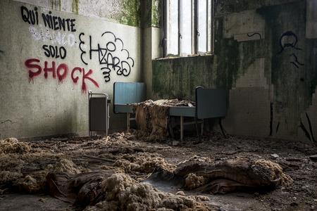 Abandoned bedroom Stock Photo