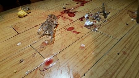 redwine: Broken glass on the floor