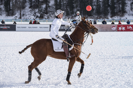 St. Moritz  Switzerland  - January 30,2016: Game actions at the Snow Polo World Cup St.Moritz 2016