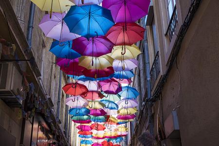 Umbrellas ceiling in Avignon Standard-Bild