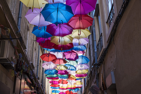 Umbrellas ceiling in Avignon 版權商用圖片