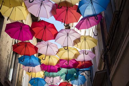 colourful sky: Umbrellas ceiling in Avignon Stock Photo
