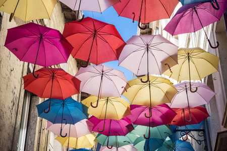Umbrellas ceiling in Avignon Stock Photo