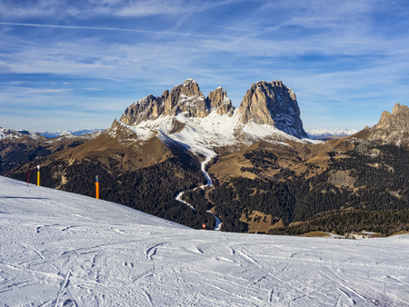 sella: Dolomites ski area Stock Photo