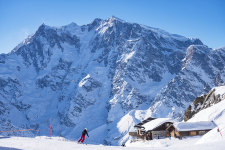 Skier in the alps Stock Photo