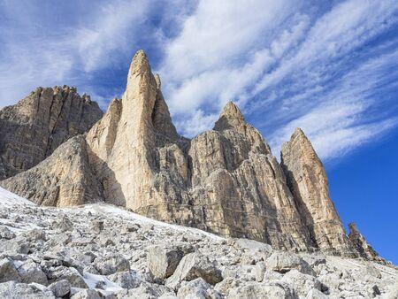 Tre Cime di Lavaredo mountain Stock Photo