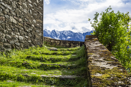Stonewall in the alps Stock Photo