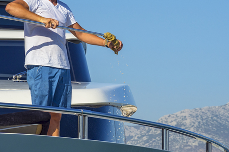 Cleaning yacht