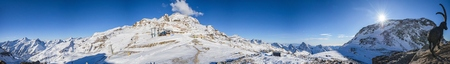 Dufourspitze in the alps Stock Photo