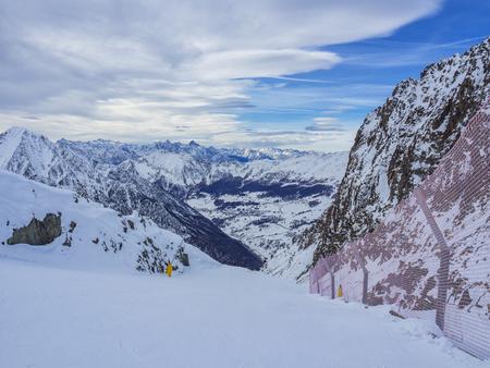 Ski slope in champoluc Stock Photo