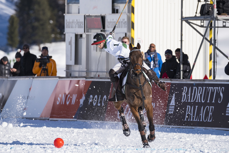 St. Moritz - January 27, 2018:  Game actions  at the Snow Polo World Cup St.Moritz 2018 Editorial
