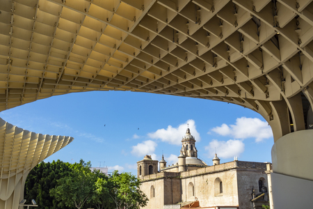 Seville ( Spain ) 05122018: Metropol Parasol Building is a modern building that gives a new face to the center of the town. It has soon becomes one of the most visited attractions in Seville Editöryel