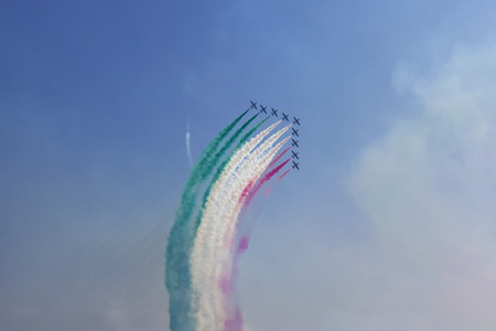 Manerba del Garda ( Italy )09162018: every year in Lake Garda area there is one of the most beautiful air shows of Italy. It usually ends with the famous  Frecce Tricolori  acrobatic  air team 報道画像
