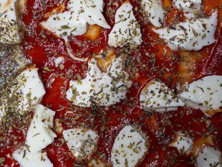 Mozzarella tomato and oregano detail on a raw pizza