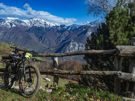 Mountain bike in the alps of Valsassina